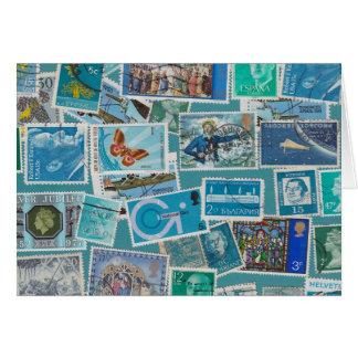 郵便料金のブルー グリーティングカード