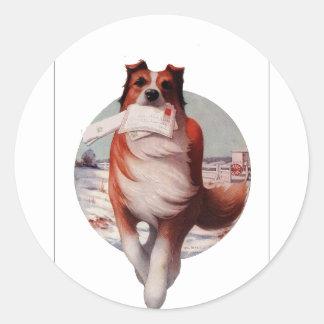 郵便犬 ラウンドシール