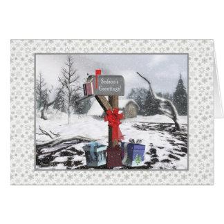 郵便配達員への冬のポストの季節の挨拶 カード