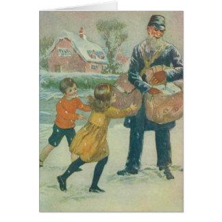 郵便配達員及び子供 カード