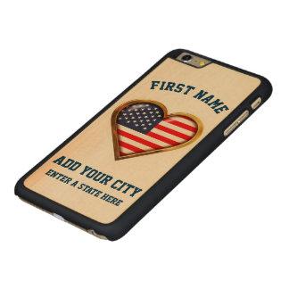 都市および州とカスタマイズアメリカのハート CarvedメープルiPhone 6 PLUS スリムケース