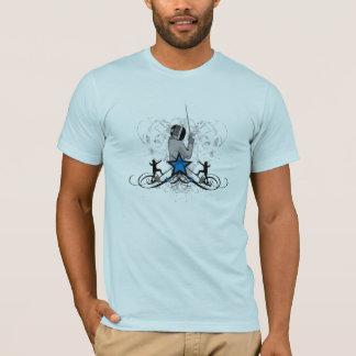 都市および情報通のフェンシングのイラストレーション Tシャツ