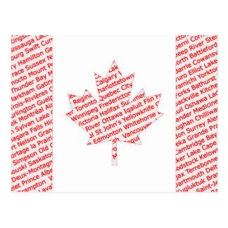 都市および町が付いているカナダの旗は郵便はがきを示します ポストカード