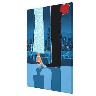 都市のロマンチックなカップル キャンバスプリント