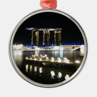 都市の夜眺め メタルオーナメント