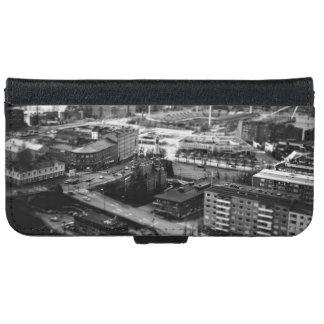 都市の白黒空中写真 iPhone 6/6S ウォレットケース