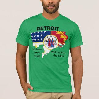 都市の輪郭のTシャツのデトロイトの旗 Tシャツ