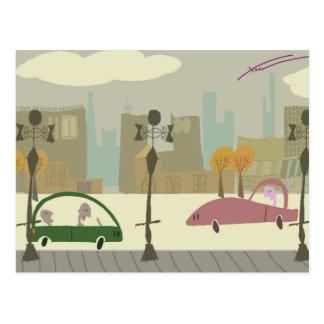 都市の運転 ポストカード