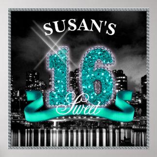 都市はSweet sixteenのティール(緑がかった色) ID120をつけます ポスター