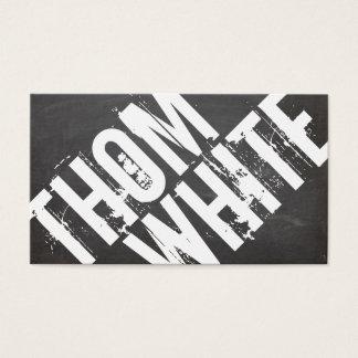 都市クールではっきりしたな白黒グランジなタイポグラフィ 名刺