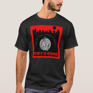 都市テーマの黒のTシャツはサイズをからかいます Tシャツ