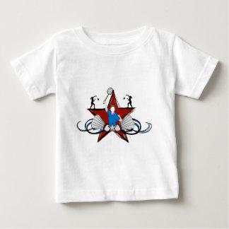 都市バドミントンのイラストレーション ベビーTシャツ
