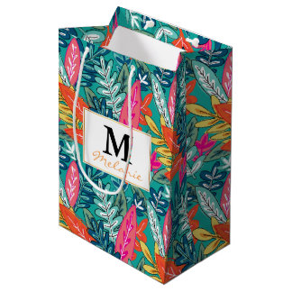 都市多彩なジャングルの群葉パターン ミディアムペーパーバッグ