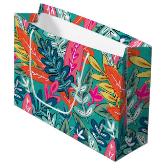 都市多彩なジャングルの群葉パターン ラージペーパーバッグ
