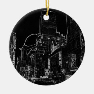都市夜歩行のニューヨークシティのタイムズ・スクエアライト セラミックオーナメント