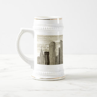 都市抽象芸術のMonotypeのプリントの雪 ビールジョッキ