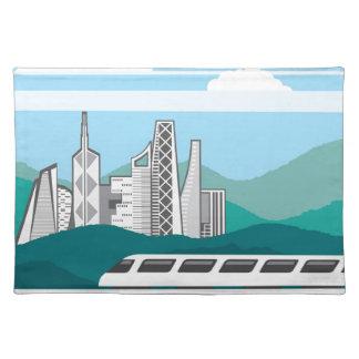 都市景色の列車橋 ランチョンマット