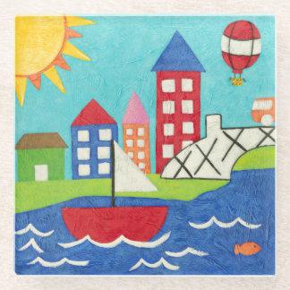 都市景観のヨットおよび熱気の気球 ガラスコースター