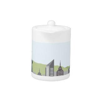 都市景観の丘のベクトル家および超高層ビル