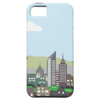 都市景観の丘のベクトル家および超高層ビル iPhone SE/5/5s ケース