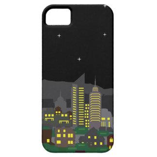 都市景観夜ベクトル家および超高層ビル iPhone SE/5/5s ケース