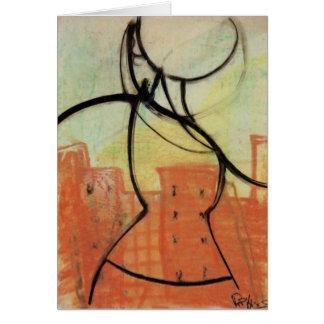 """""""都市熱""""パステル調の絵を描くNotecard、Brad Hines グリーティングカード"""
