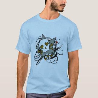 都市芸術的なスカルの星の入れ墨のイラストレーション Tシャツ
