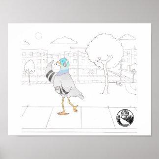 都市鳥 -- 音楽的なハトポスター(11 x 14) ポスター