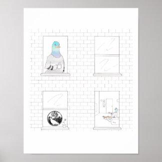 都市鳥 -- Caffeinatedハトポスター(11 x 14) ポスター