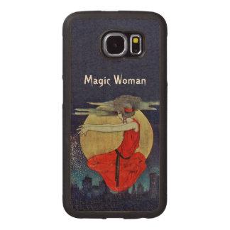 都市黄色の月の上で浮かんでいる魔法の女性 ウッドケース