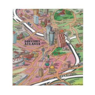 都心のアトランタジョージアの漫画の地図 ノートパッド