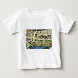 都心のオースティンテキサス州の漫画の地図 ベビーTシャツ