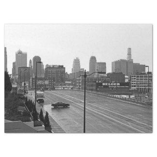 都心のカンザスシティ、ミズーリの黒く及び白い写真 薄葉紙