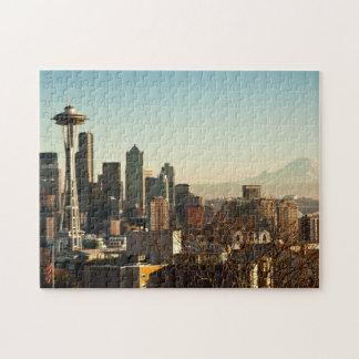 都心のシアトルのスカイラインおよび宇宙の針 ジグソーパズル