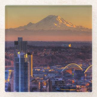 都心のシアトルの都市景観の眺めフットボール ガラスコースター