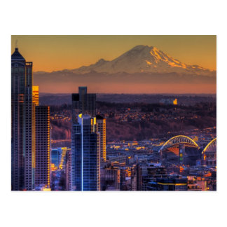 都心のシアトルの都市景観の眺めフットボール ポストカード