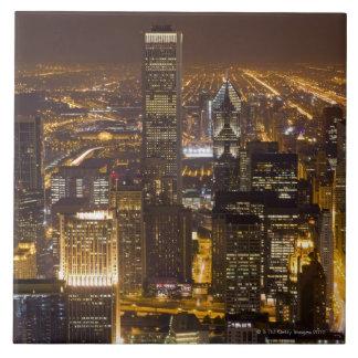 都心のシカゴの都市景観 正方形タイル大