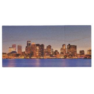 都心のボストンの財政地区の眺め ウッドUSBフラッシュドライブ