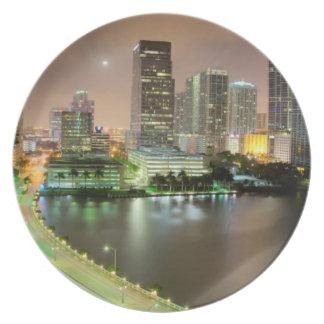 都心のマイアミへの水路を渡る橋鉛 プレート