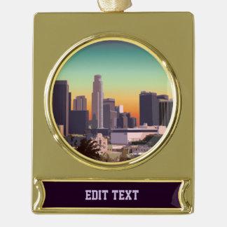 都心のロサンゼルス-カスタマイズ可能なイメージ ゴールドプレートバナーオーナメント