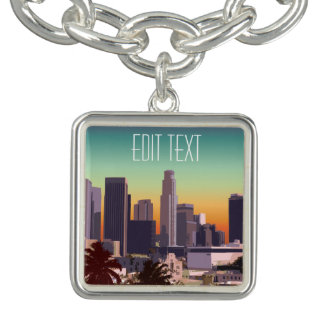 都心のロサンゼルス-カスタマイズ可能なイメージ チャームブレスレット