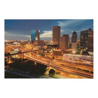都心の都市眺め ウッドウォールアート