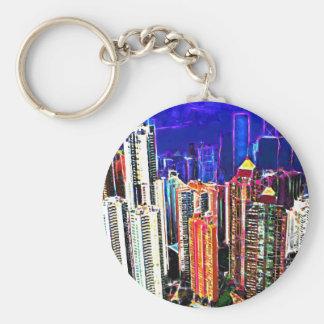 都心の香港: 中国: ベーシック丸型缶キーホルダー