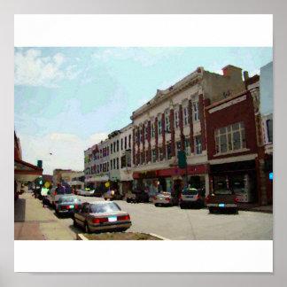 都心のLeavenworth、KSのキャンバスの写真 ポスター