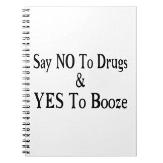 酒宴への薬剤のYesへのいいえ ノートブック
