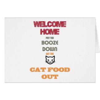 酒宴を置いて下さい、猫の餌を出して下さい カード
