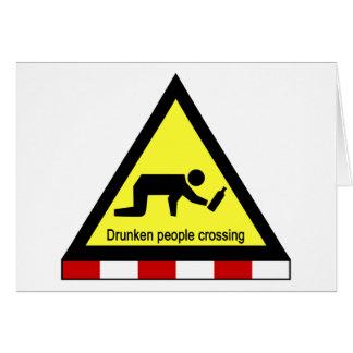 酔った人々の交差の⚠のタイの印の⚠ カード