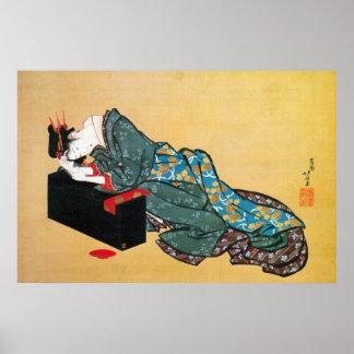 酔った女、北斎によって飲まれる女性、Hokusai ポスター