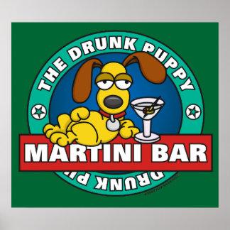 酔った子犬のマルティーニのバーポスター ポスター