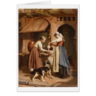 酪農場、1866年(パネルの油) カード